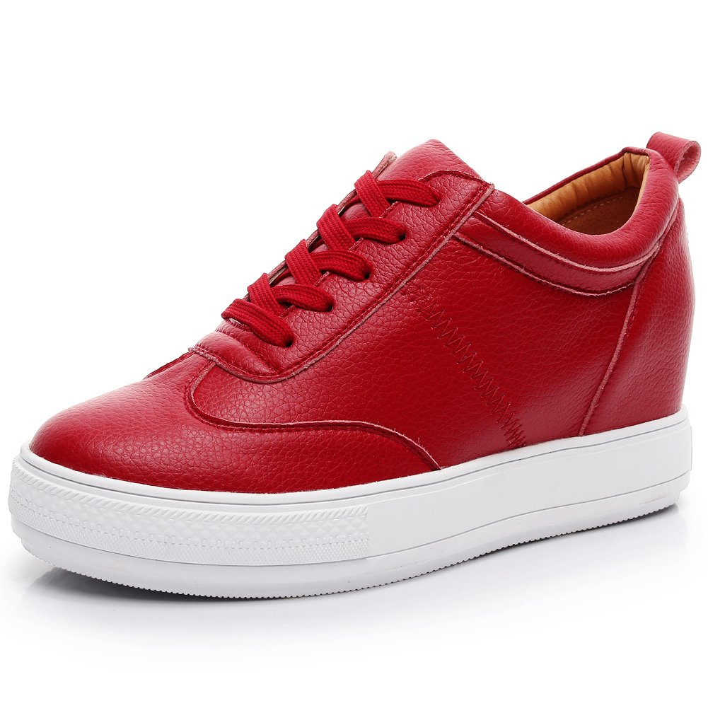 Jamron Women Comfort Soft Microfiber Leather Hidden Wedge Heel Sneakers B074Y34Y5L 8 B(M) US|Red