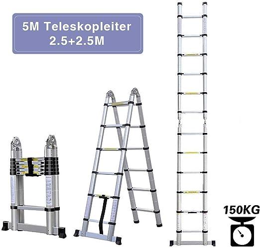 Aluleiter Mehrzweckleiter Teleskopleiter Multifunktionsleiter Klappleiter Anlegeleiter Stehleiter 5M Aluminium Leiter 150 kg Belastbarkeit