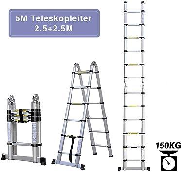 Escalera telescópica multiusos, escalera plegable de 5 m y escalera telescópica plegable de aluminio, 150 kg: Amazon.es: Bricolaje y herramientas