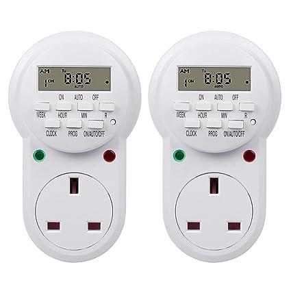 4 x  Weekly Digital Electronic LCD Timer Socket Mains Plug Programs 24 Hour 13A