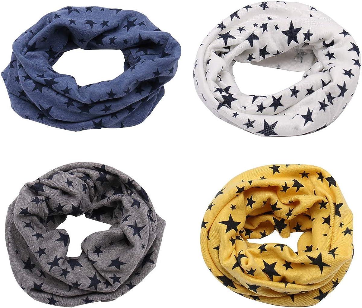 Richaa Star Winter Cotton Neck Warmer for Boys Girls Multi Use O-Ring Collar Scarfs Hat Bandana 4 PCS Infinity Scarves for Kids