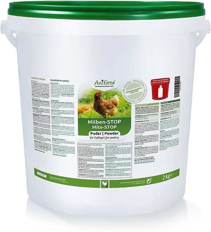 Antiácaros en polvo para gallinas y aves de corral. Botella de 2kg - tierra de diatomeas como agente contra los ácaros de las aves rojas, sin productos químicos y adecuado para las