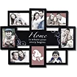 "Adeco 8 Openings Black Decroative Collage ""Home is Where your story begins"" Family Wall Hanging Picture Frame - Made to Display Eight 4x6 Photos"