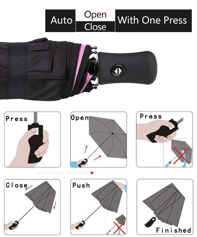 Picano Travel Umbrella Sports Windproof, Auto Open/Close Folding Compact Umbrellas Men,Women,Boys and Girls