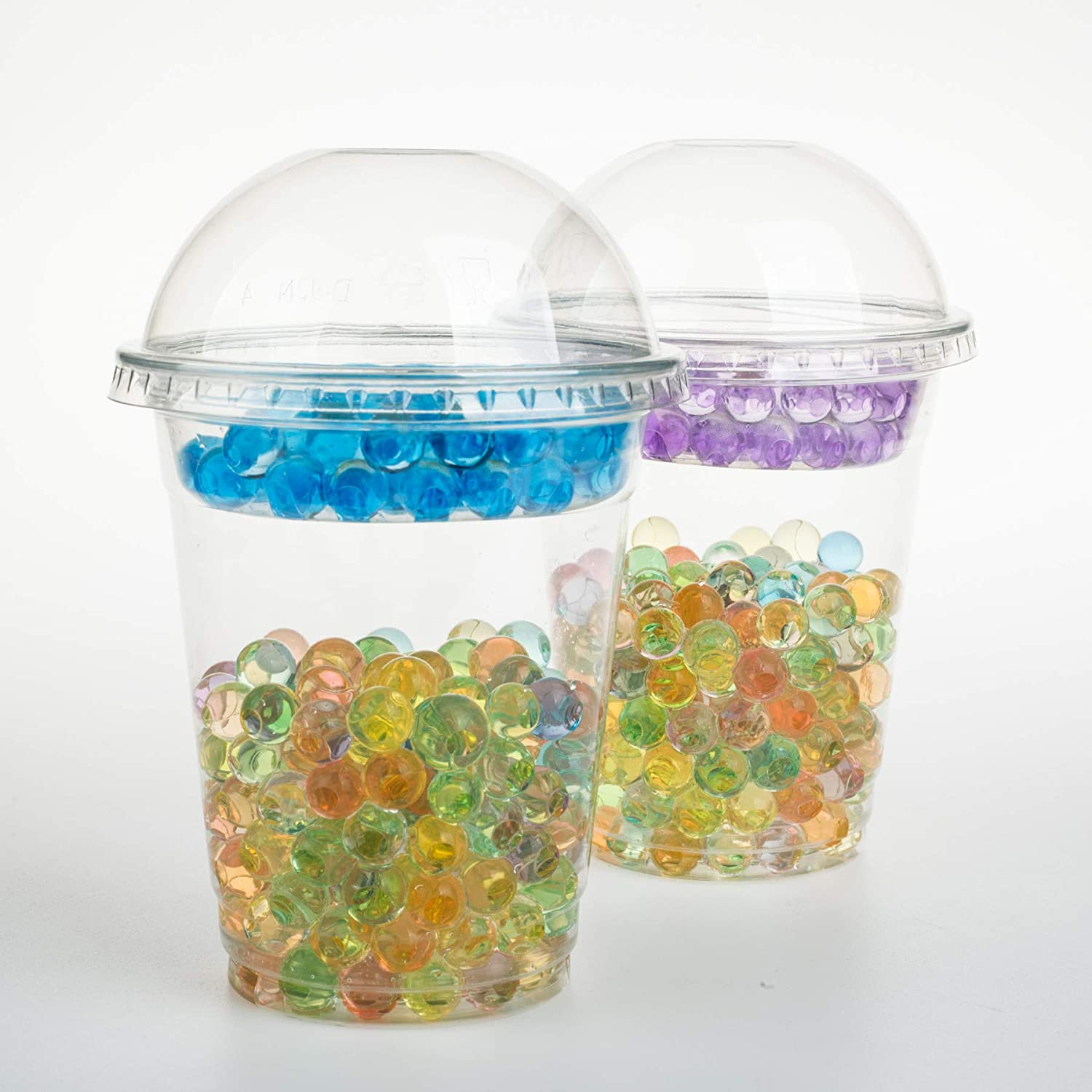 GOLDEN APPLE Cup series, 12oz Clear Plastic cups + 2oz insert with Dome lids no hole 25sets
