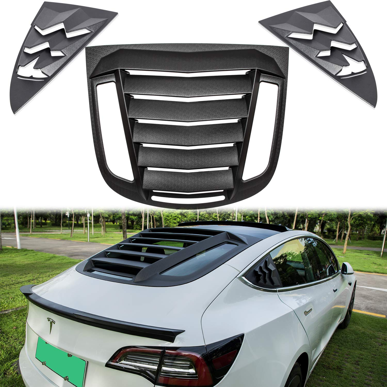 E-cowlboy Side Window Louvers Windshield Scoop Cover Visor Cover Waterproof Window Protector Rain Shade ABS Matte Black for Tesla Model 3 2017 2018 2019