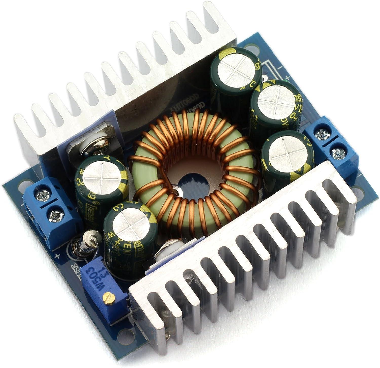 DZS Elec 12A DC-DC Step Down Buck Converter Low Ripple with Heat Sink 4.5V-30V to 0.8V-30V Vehicular Voltage Regulator