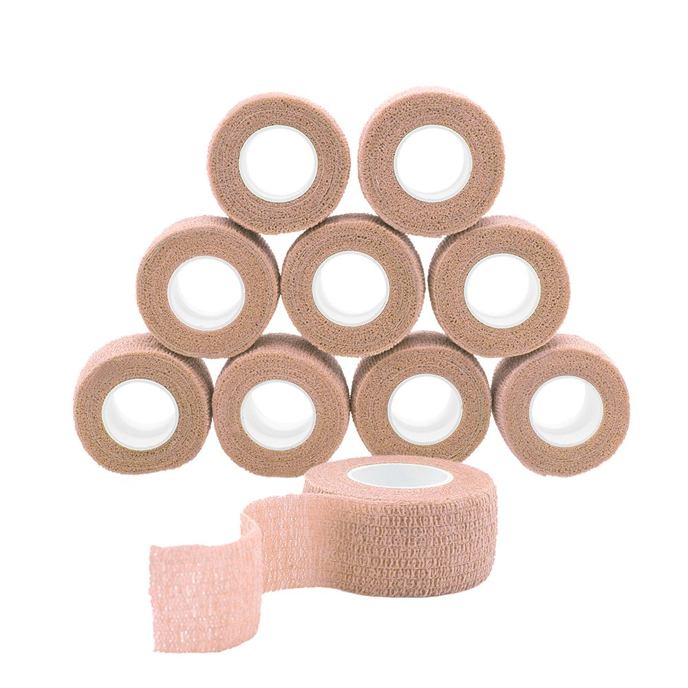 GooGou Self Adherent Wrap Bandages Self Adhering Cohesive Tape Elastic Athletic Sports Tape for Sports Sprain Swelling and Soreness on Wrist and Ankle 10PCS 1 in X 14.7 ft (brown color)