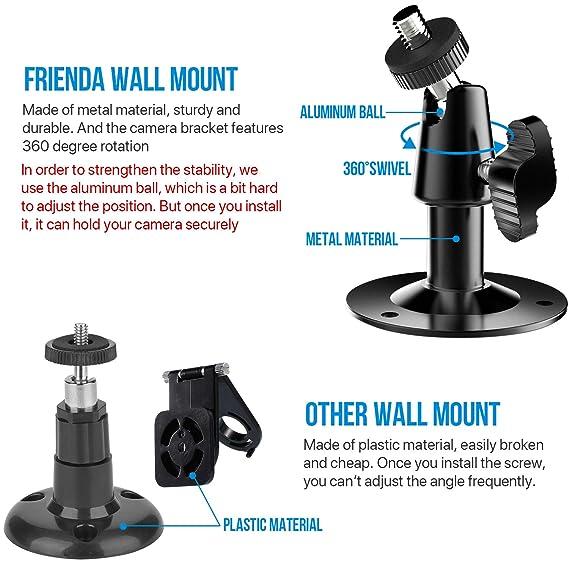 Soporte de Montaje de Pared Ajustable de 360 Grados y Piel Protectora de Silicona para Cámara de Seguridad Interior/Exterior Blink XT (2, Negro): Amazon.es: ...