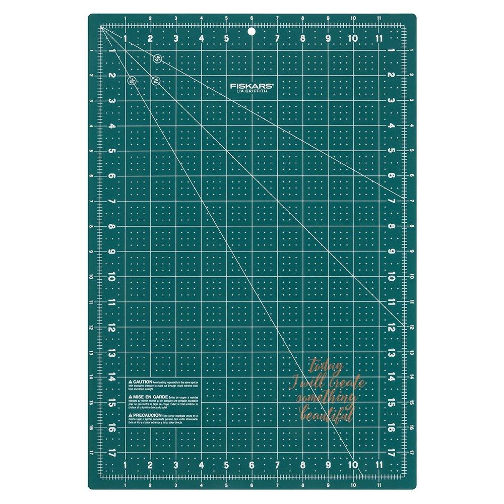 """Fiskars 183700-1005 Lia Griffith Fashion Cutting Mat (12"""" x 18""""), Teal Green"""