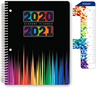 """Dated Middle School or High School Student Planner for Academic Year 2020-2021 (Matrix Style - 7""""x9"""" - Color Bars Cover) - Bonus Ruler/Bookmark and Planning Stickers"""