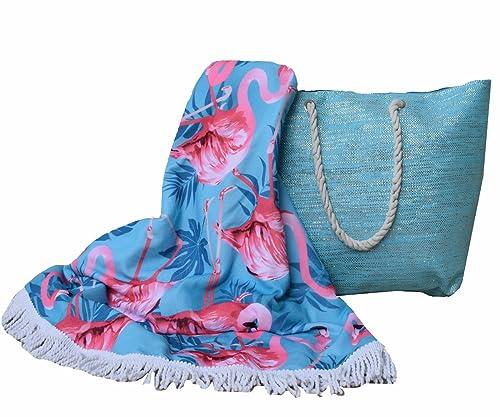 Forneret Bolso azul claro brillante tamaño grande+toalla redonda con flecos 150 * 150cm diseño flamencos 2018: Amazon.es: Zapatos y complementos