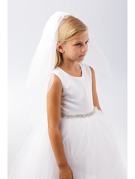 8923877f1e48 Amazon.com: Girls White Simple Corded Edge Stylish Flower Girl Communion  Veil: Clothing