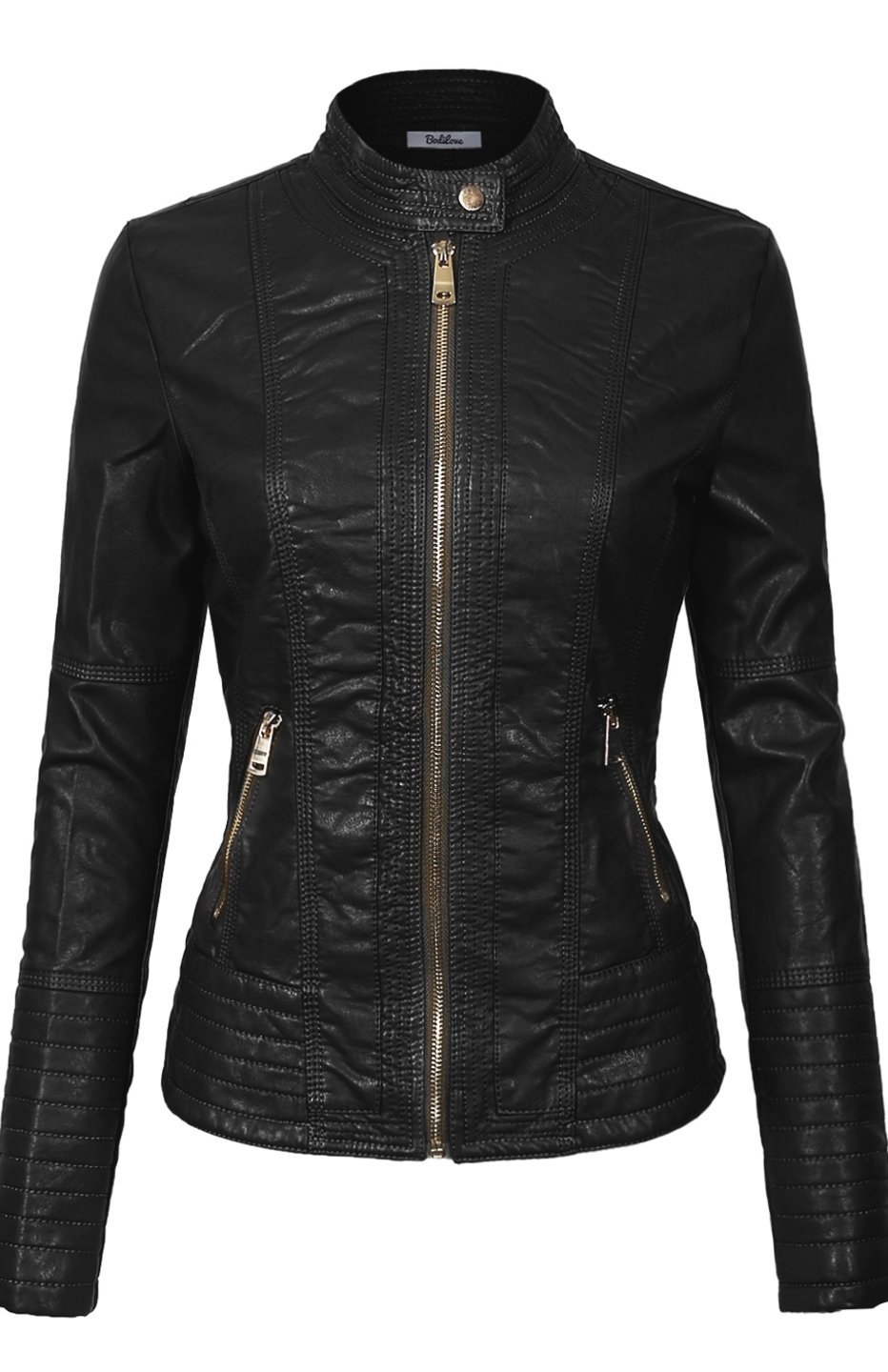 BodiLove Women's Slim Tailoring Faux Leather Zip Up Moto Biker PU Jacket Black XS
