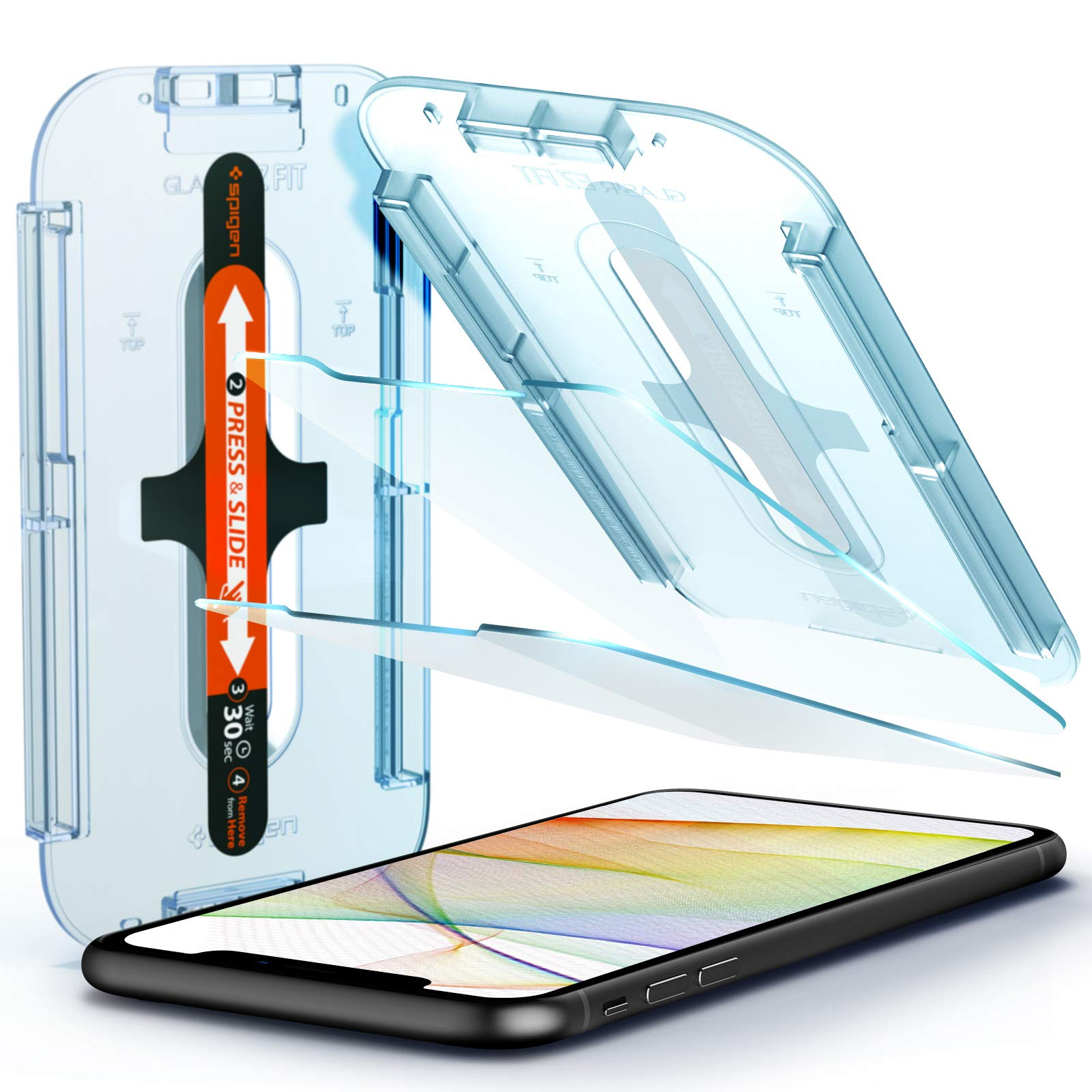 Spigen Tempered Glass Screen Protector [Glas.tR EZ Fit] designed for iPhone 11 / iPhone XR [6.1 inch] [Case Friendly] - 2 Pack