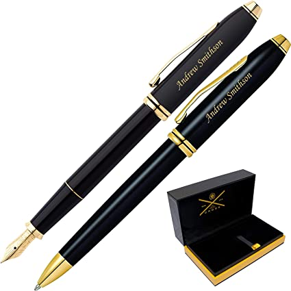 Daysping Pens | Engraved/Personalized Cross Townsend Black Lacquer Fountain and Ballpoint Pen Gift Set