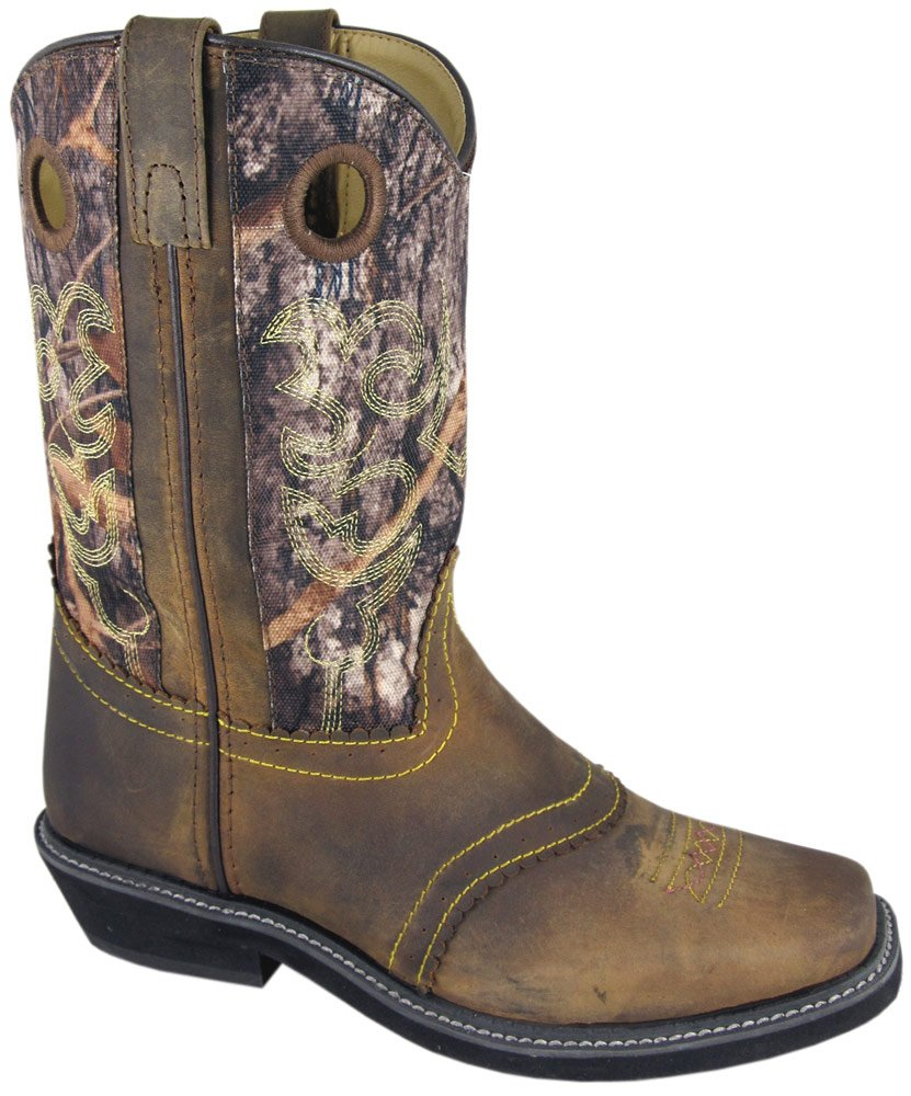 Smoky Mountain Ladies Pawnee Square Toe Boot Brown Oil Distress/Camo