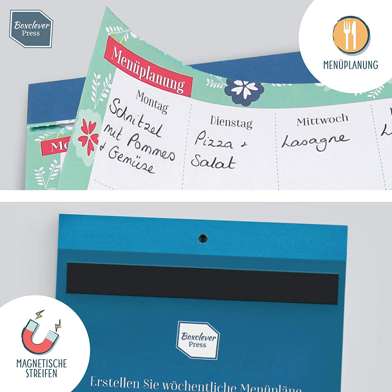 Einkaufsliste zum Aufh/ängen zur w/öchentlichen Men/üplanung Einkaufszettel zum Abrei/ßen Boxclever Press Magnetischer Einkaufsblock und Men/üplaner Essensplaner f/ür die Woche mit Stift und Tasche