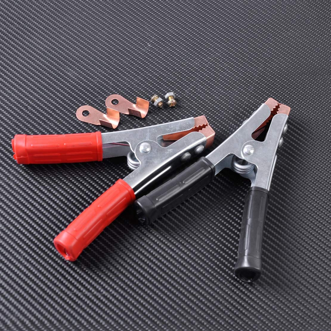 2Pcs 100 Amp Car Crocodile Heavy Duty Jump Lead Clamp Clip+Copper Connector Universal For Jumper Booster Cables by TX-CONSUMER