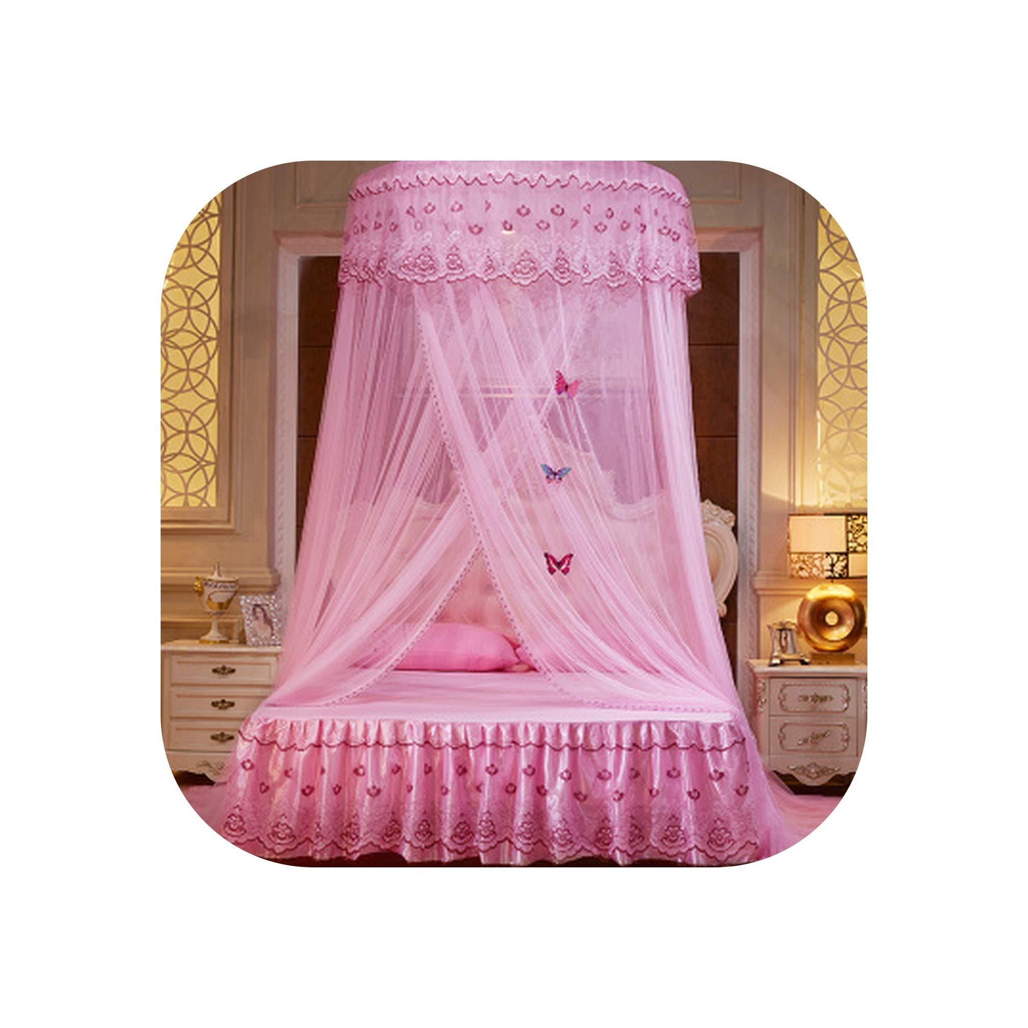 Folding Palace Mosquito Net Double Bed Mosquito Net Adults Anti Insert Bed Tent Kids Canopy Princess Bed Curtain Mesh,Pink,1.5m (5 feet) Bed by SuWuan mosquito net (Image #1)