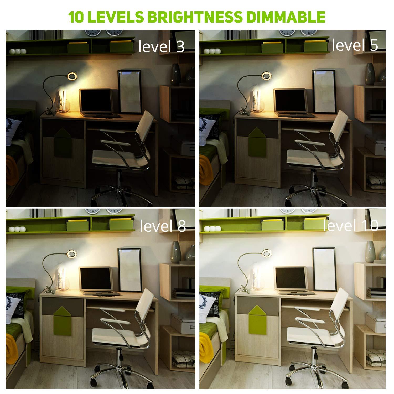 Klemmleuchte LED Buchleseleuchte mit Klemmautomatik 3 Beleuchtungsarten 10 Helligkeitsstufen f/ür Schreibtischtisch Nachttisch schwarz, 8W