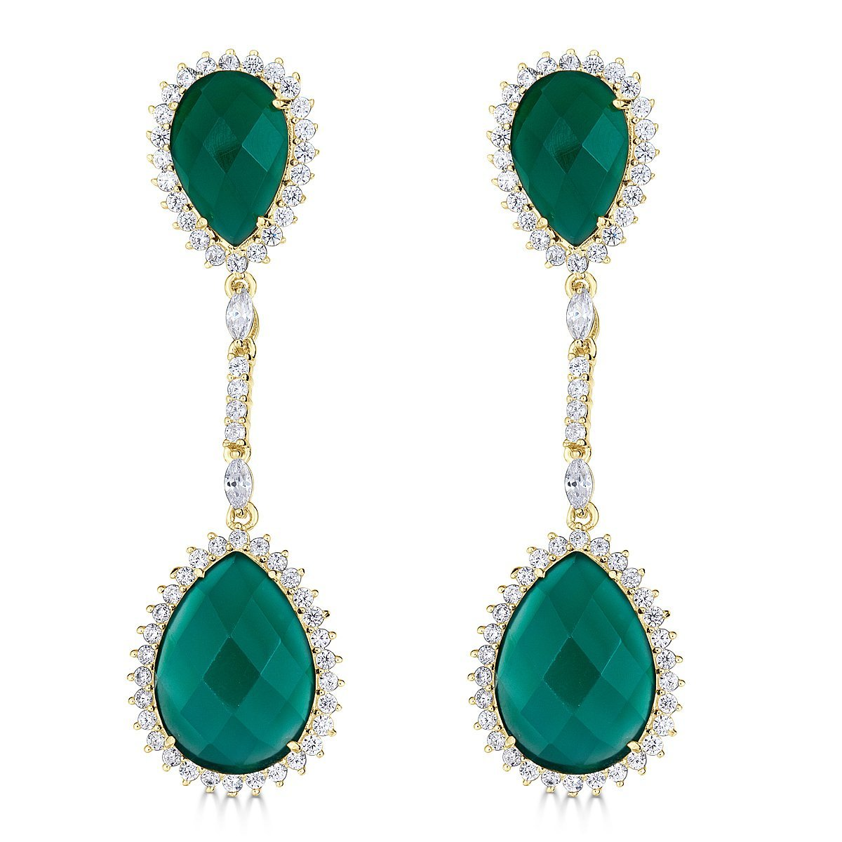 Gold Plated Sterling Silver Dangle Green Agate Earrings