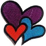 Parches - corazón - colorido - 6.8x5.9cm - termoadhesivos bordados aplique para ropa