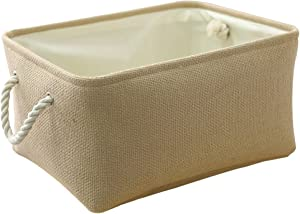 TheWarmHome Decorative Basket Rectangular Fabric Storage Bin Organizer Basket with Handles for Clothes Storage (Beige, 15.7L11.8W8.3H)