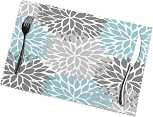 Dahlia Pinnata Flower Gray and Light Blue Placemats Set of 6 Heat-Resistant Washable Table Place Mat for Dining Table 12 X 18 Inches