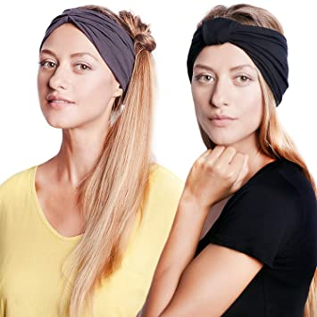 BLOM Original Headband Two Pack  Women's Headbands Perfect for Yoga Fashion  Workout Sports Gym Athletic Exercise  Wide Sweat Wicking & Stretchy