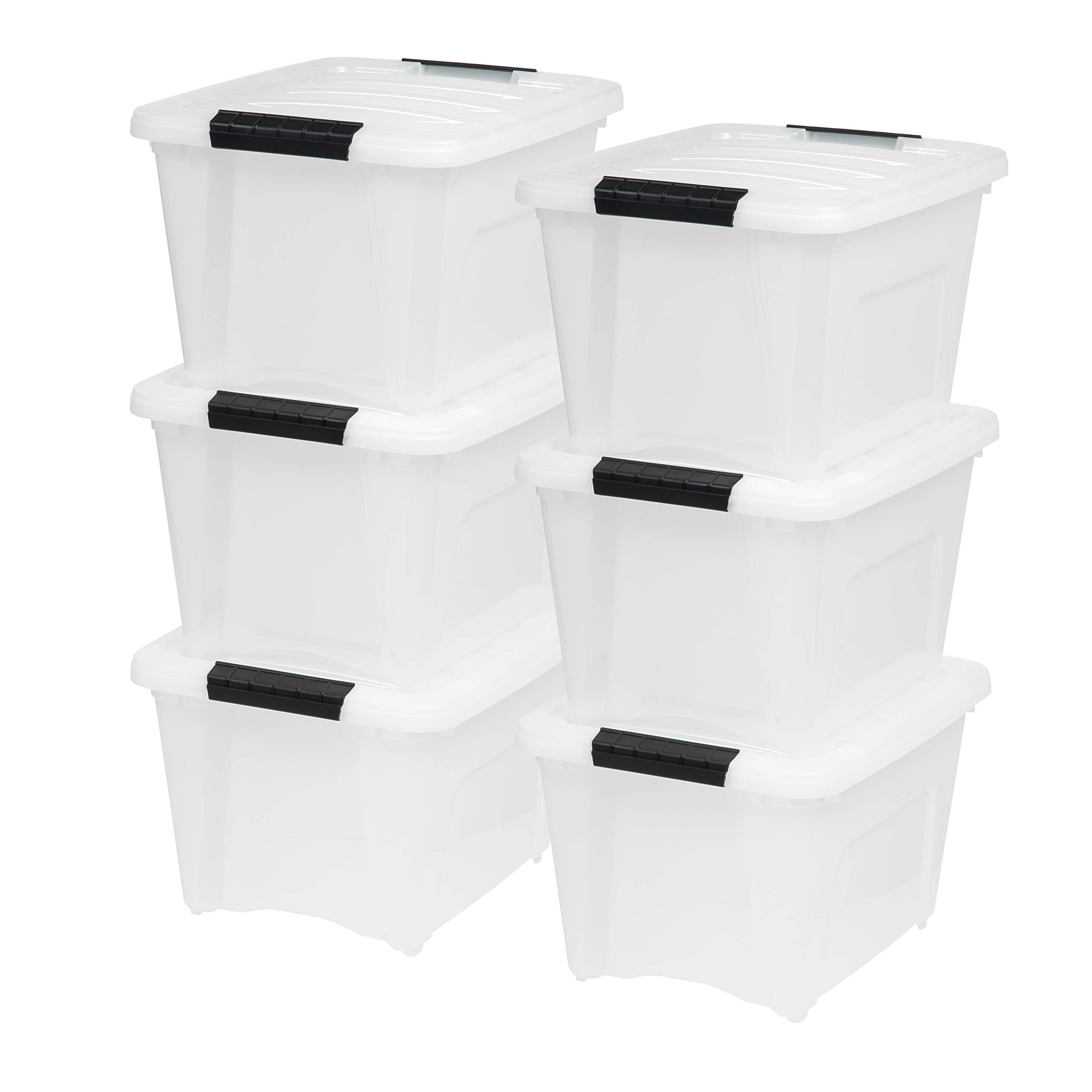 IRIS USA, Inc TB-17 19 Quart Stack & Pull Box, Multi-Purpose Storage Bin, 6 Pack, Pearl by IRIS USA, Inc.