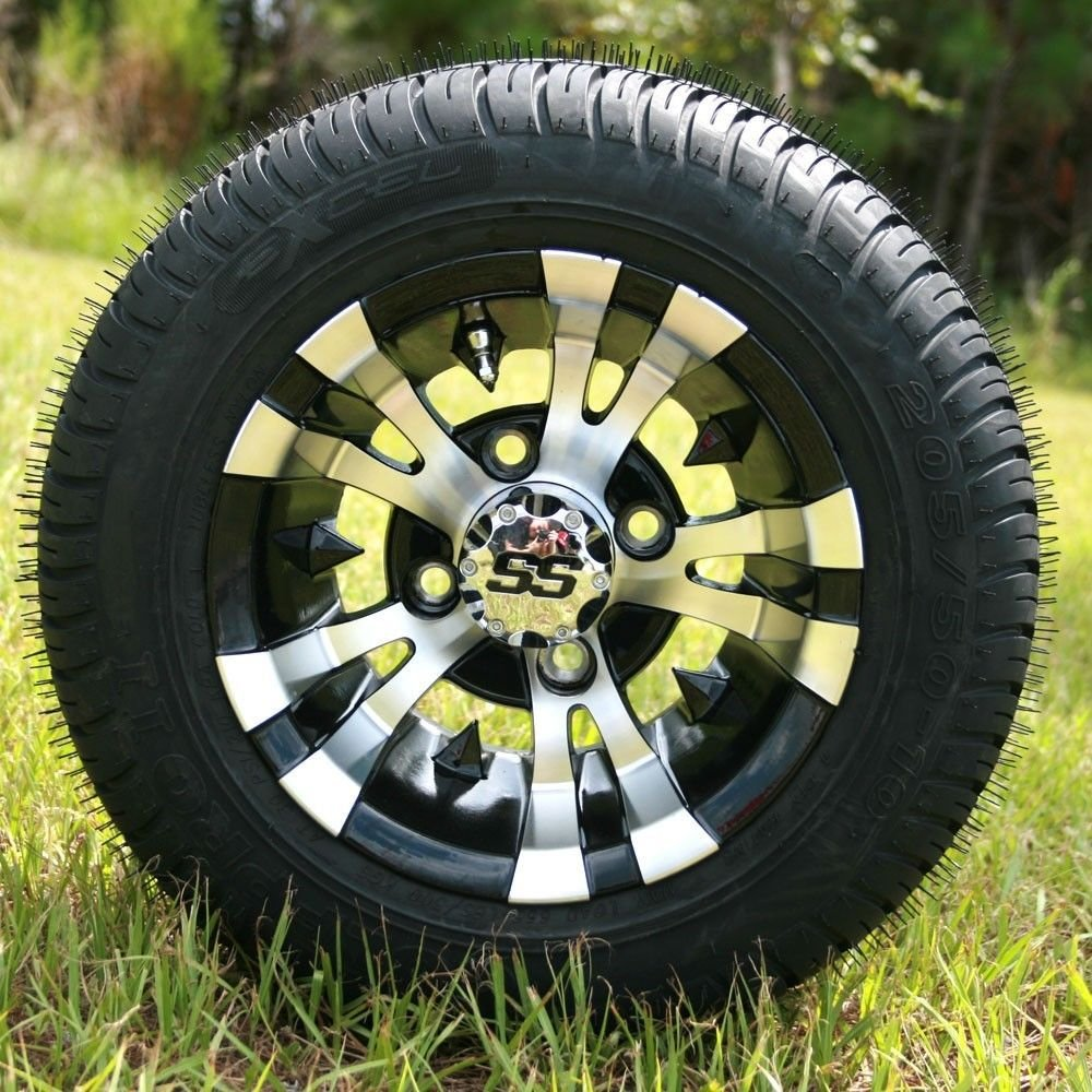 10'' VAMPIRE Machined/Black GOLF CART WHEELS AND 205/50-10 LOW PROFILE GOLF CART TIRES COMBO - SET OF 4