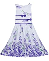 Elite99 Girls Dress Purple Rose Flower Double Bow Tie Party Kids Size 4-12 Years