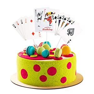 Keaziu 3 Pack Casino Cake Topper Poker Heart cake Toppers Playing Cards Vegas Theme Cupcake Toppers Decorations Poker Night Party Supplies