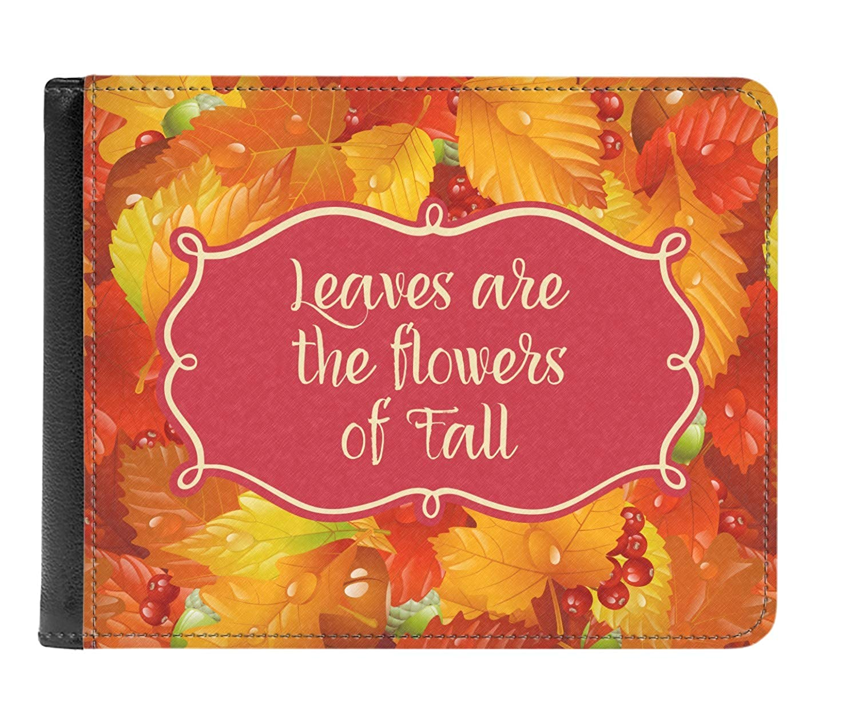 Fall Leaves Genuine Leather Mens Bi-fold Wallet