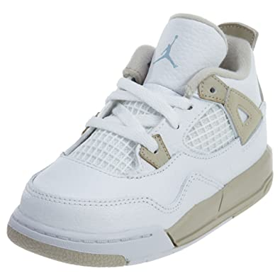4d3ebaf5f53264 JORDAN TODDLER JORDAN 4 RETRO GT SHOES WHITE BOARDER BLUE LIGHT SAND SIZE 4