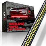 """OPT7 60"""" Redline Triple LED Tailgate Light Bar w/Sequential Amber Turn Signal - 1,200 LED Solid Beam - Weatherproof No Drill"""