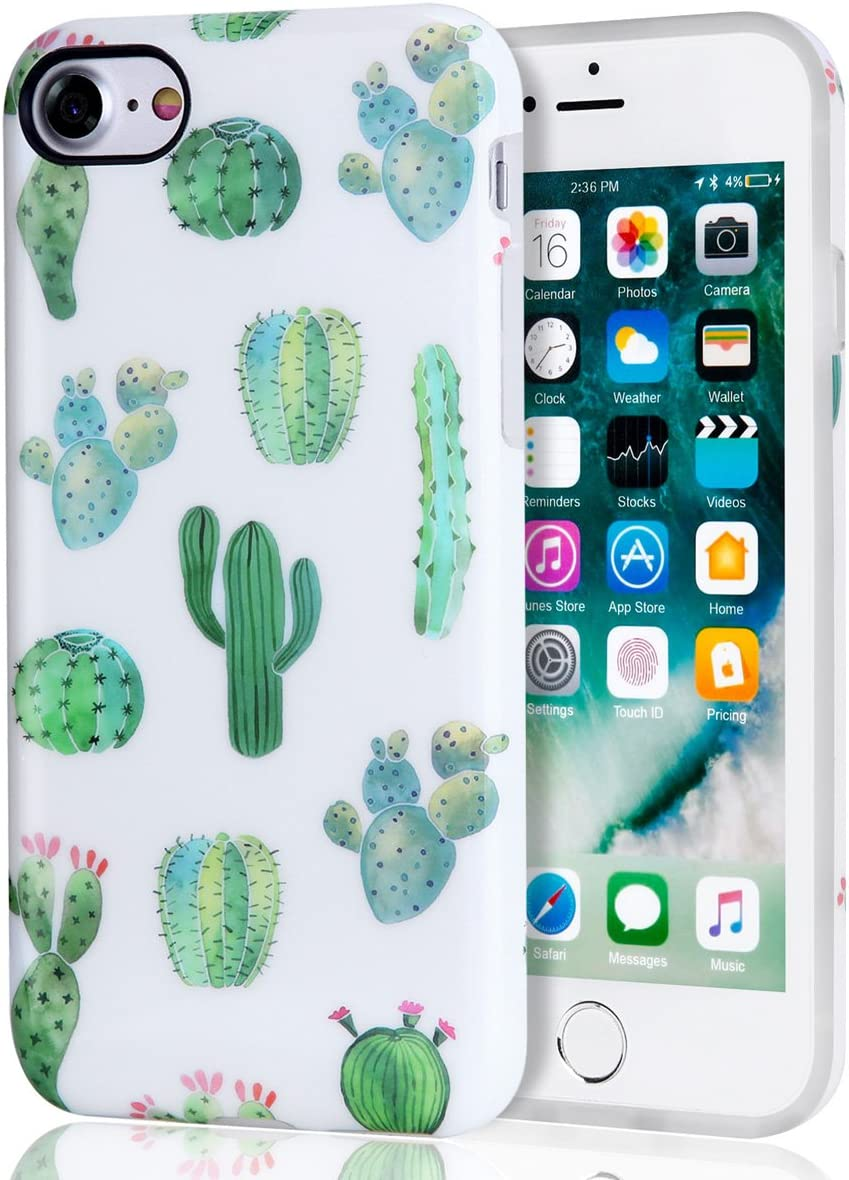 Amazon Com Cactus Iphone 7 Case Iphone 8 Case White Green Best Protective Cute Women Girl Clear Slim Shockproof Glossy Soft Silicone Rubber Tpu Cover Phone Case For Iphone 7 Iphone 8