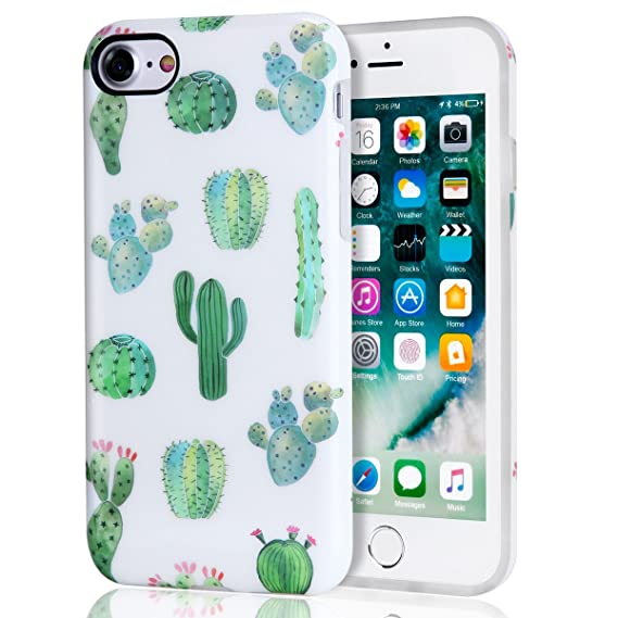 super popular 8c8c7 45c1a Cactus iPhone 7 Case, iPhone 8 Case, White Green Best Protective Cute Women  Girl Clear Slim Shockproof Glossy Soft Silicone Rubber TPU Cover Phone ...