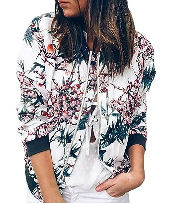 Chaquetas Bomber Mujer Moda Vintage Floreadas Outwear con ...