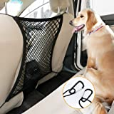 """rabbitgoo Dog Car Net Barrier,13.98"""" × 15.55"""", Metal Hooks & Stretchable Mesh Obstacle, Back Seat Net Organizer, Design for Pet Disturb Stopper & Storage Pouch, Drive Safely with Children & Pets"""