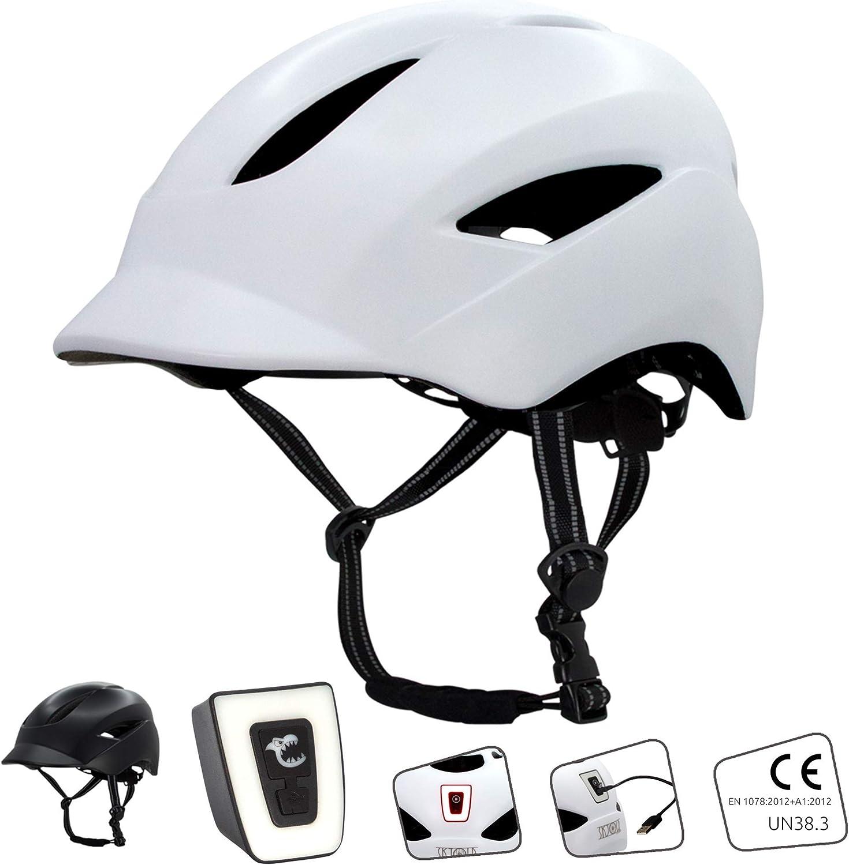 Casco de bicicleta para hombre, mujer, niño y niña I con luz LED recargable por USB I bandas reflectantes para mayor seguridad I Casco de bicicleta urbana ligero I Tamaño 54-58 (M) & 58-61 (L)