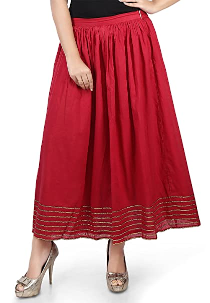 64dc9b0acb Image Unavailable. Image not available for. Color: Utsav Fashion Plain  Cotton Mulmul Long Skirt in Maroon