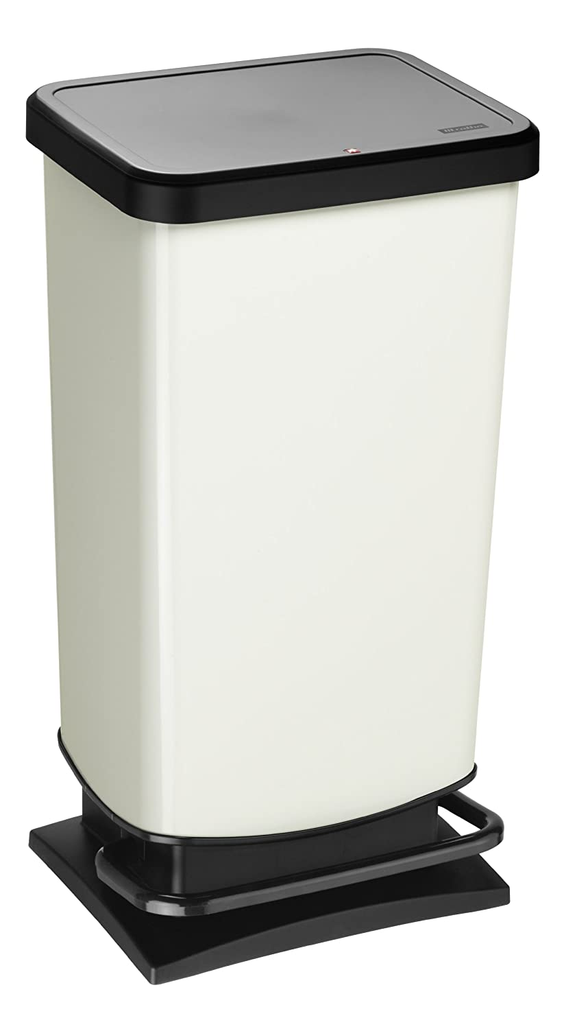 plastic green metallic 35.3 x 29.5 x 67.6 cm PP Aluminium 40 litres Rotho Paso waste bin 40l with odour-proof lid and pedal