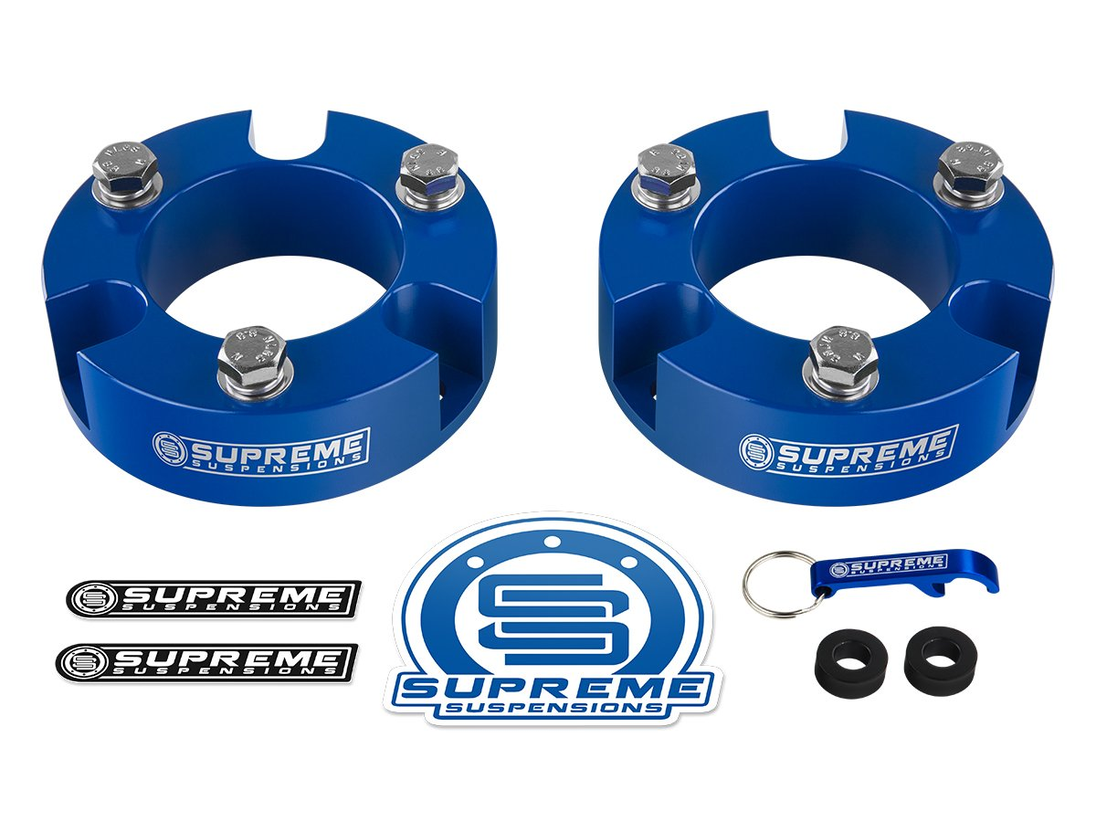 Supreme Suspensions - Toyota Tacoma Leveling Kit 3'' Front Lift Aircraft Billet Strut Spacers (Blue)