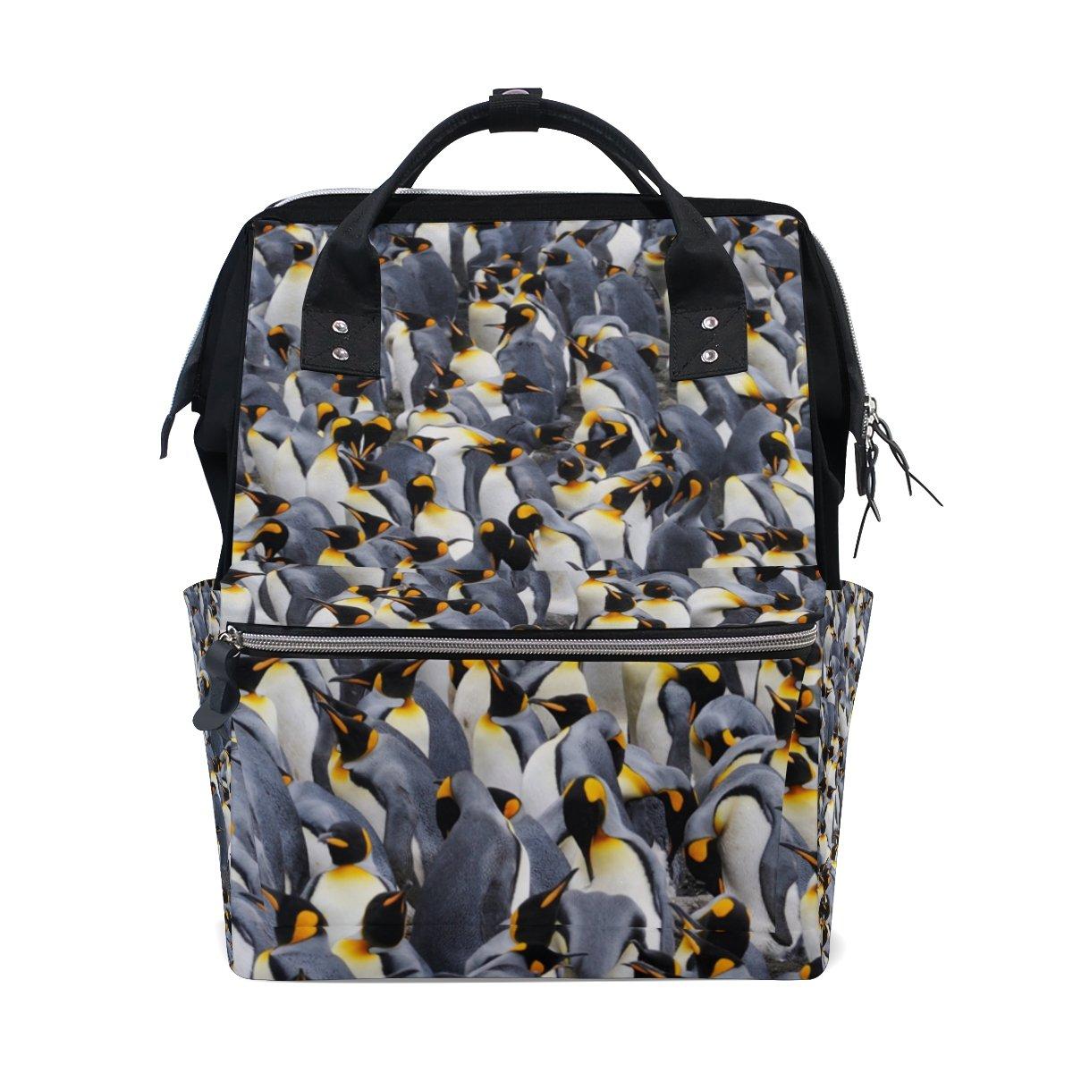 ALAZA King Penguin School Backpack Mummy Nappy Travel Nurse Bag Tote Bag