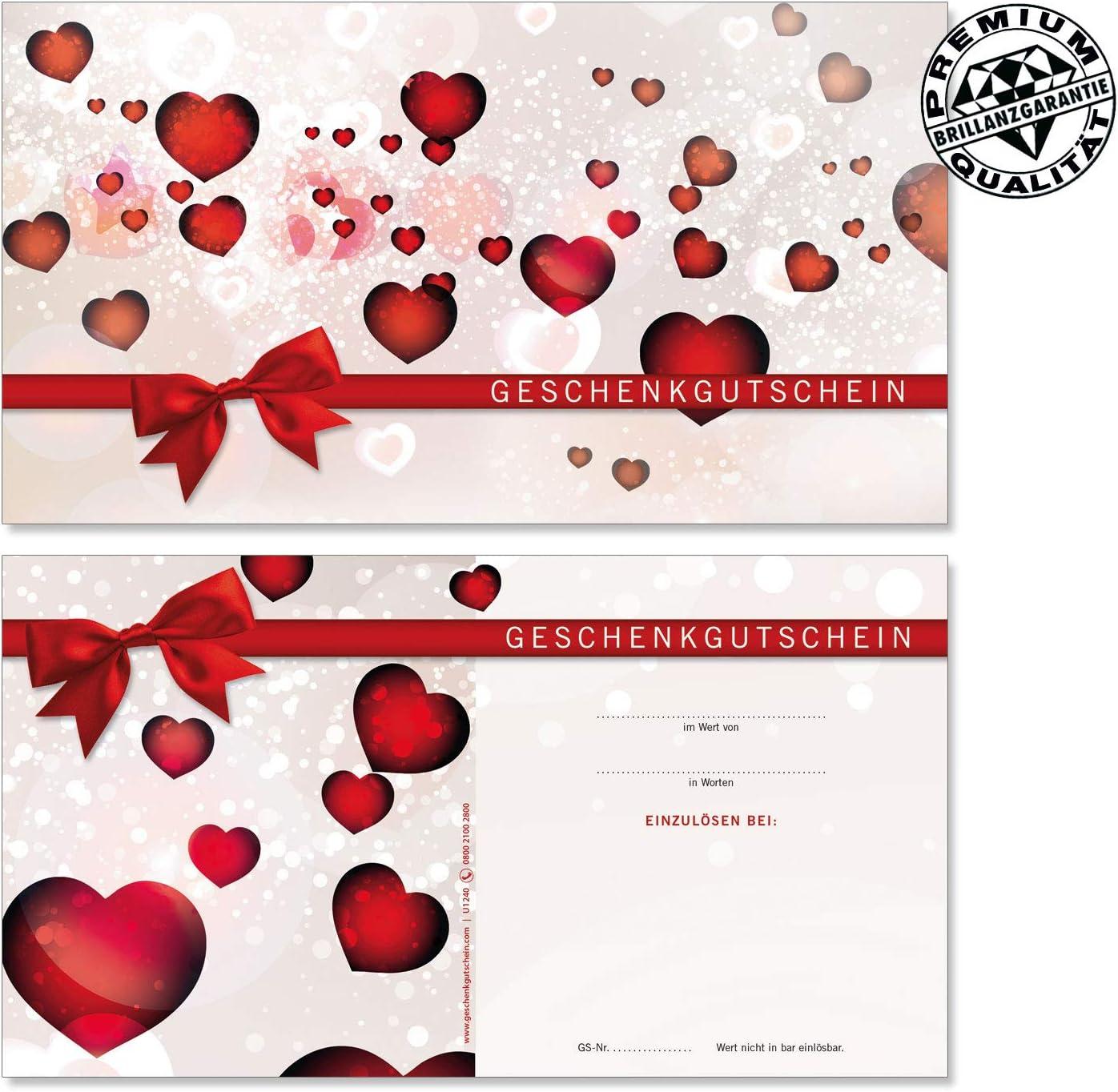 10 Schleifen U1240 Gutscheine f/ür Muttertag Valentinstag 10 hochwertige Gutscheinkarten 10 Kuverts