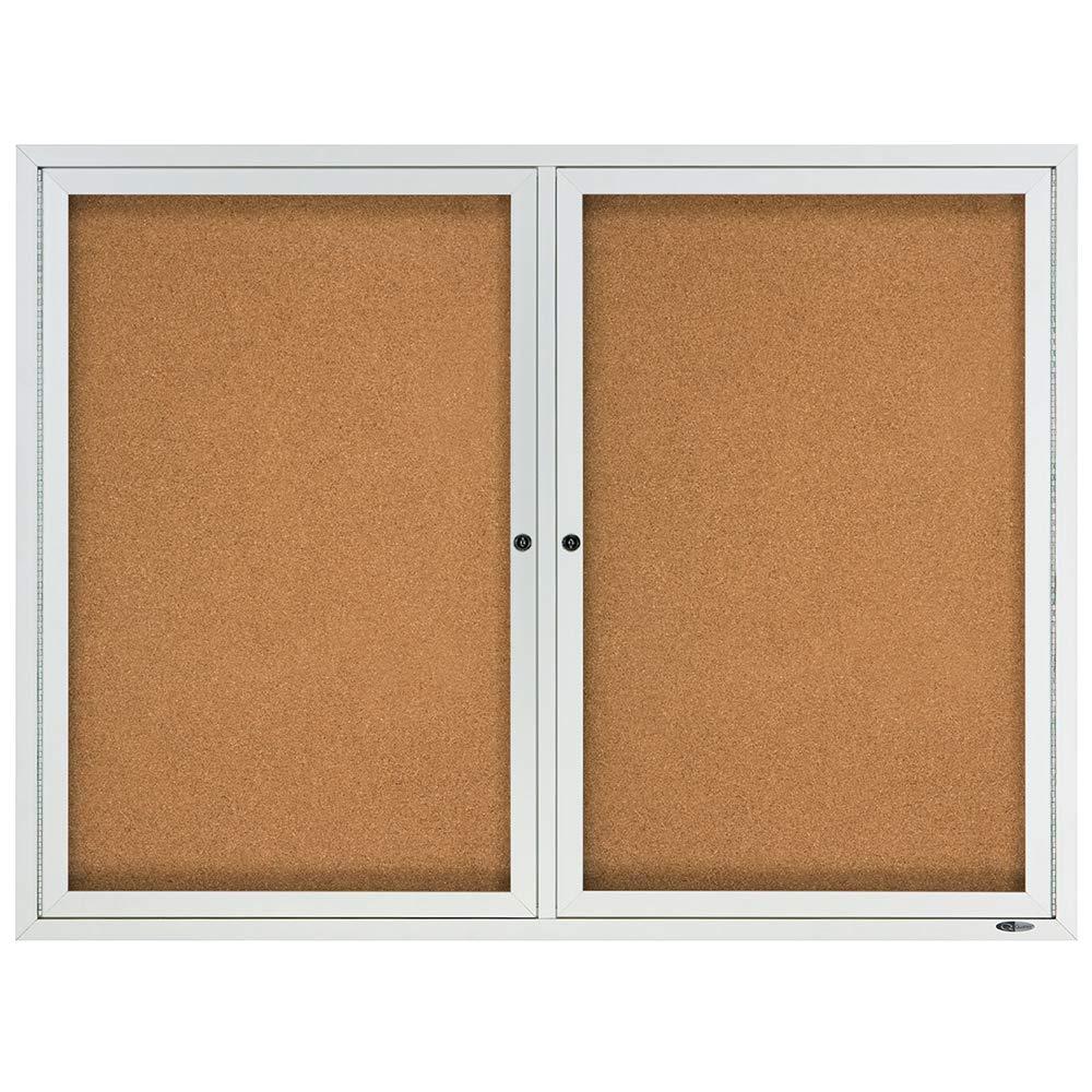 Quartet Cork Board, 2 Doors, Bulletin Board, Enclosed, 4' x 3', Outdoor, Corkboard, Aluminum Frame (2124) by Quartet