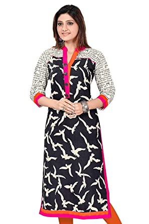 bf4522bb Image Unavailable. Image not available for. Color: Long cotton tunic kurti  from India - Printed Comfortable Designer Tops