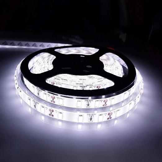 Ahevo Flexible Led Strip Light Lumière Du Jour 5 Metre 300 Leds 5630 Smd 5 M Dc 12 V étanche Ip65 Plus Lumineux Que Smd Led Ruban Led Bande Lumière Blanc Blanc
